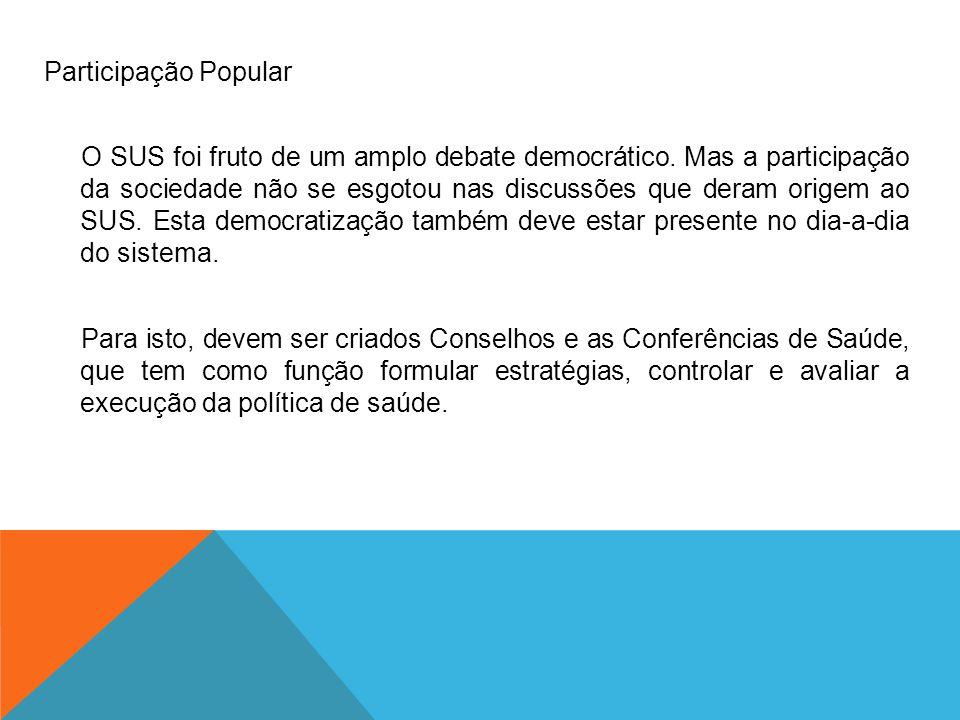 Participação Popular O SUS foi fruto de um amplo debate democrático