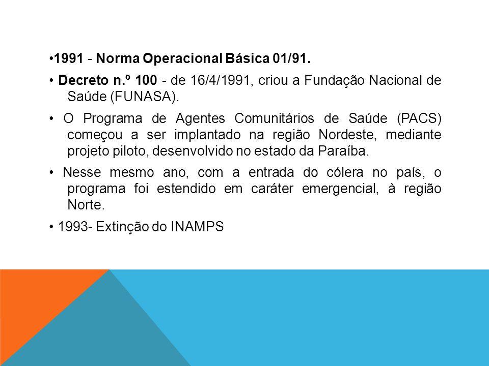 •1991 - Norma Operacional Básica 01/91. • Decreto n
