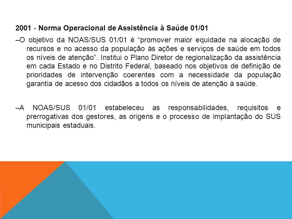 2001 - Norma Operacional de Assistência à Saúde 01/01 –O objetivo da NOAS/SUS 01/01 é promover maior equidade na alocação de recursos e no acesso da população às ações e serviços de saúde em todos os níveis de atenção .