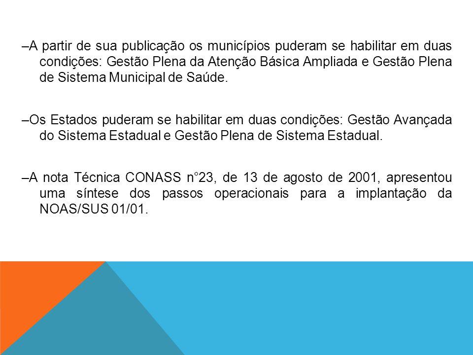 –A partir de sua publicação os municípios puderam se habilitar em duas condições: Gestão Plena da Atenção Básica Ampliada e Gestão Plena de Sistema Municipal de Saúde.