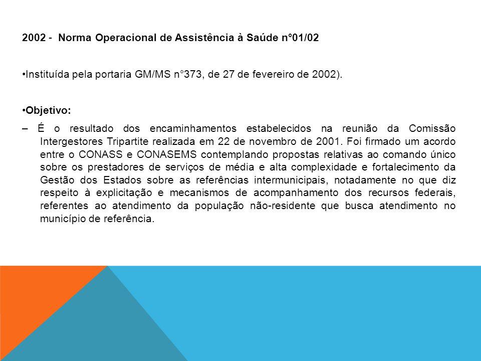 2002 - Norma Operacional de Assistência à Saúde n°01/02 •Instituída pela portaria GM/MS n°373, de 27 de fevereiro de 2002).