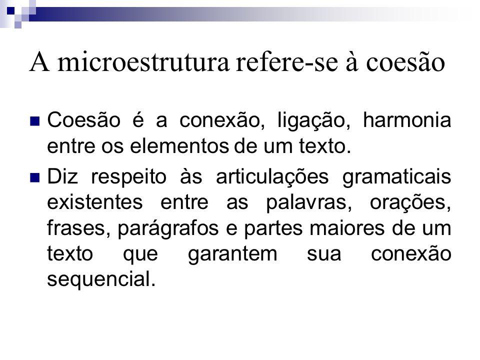 A microestrutura refere-se à coesão