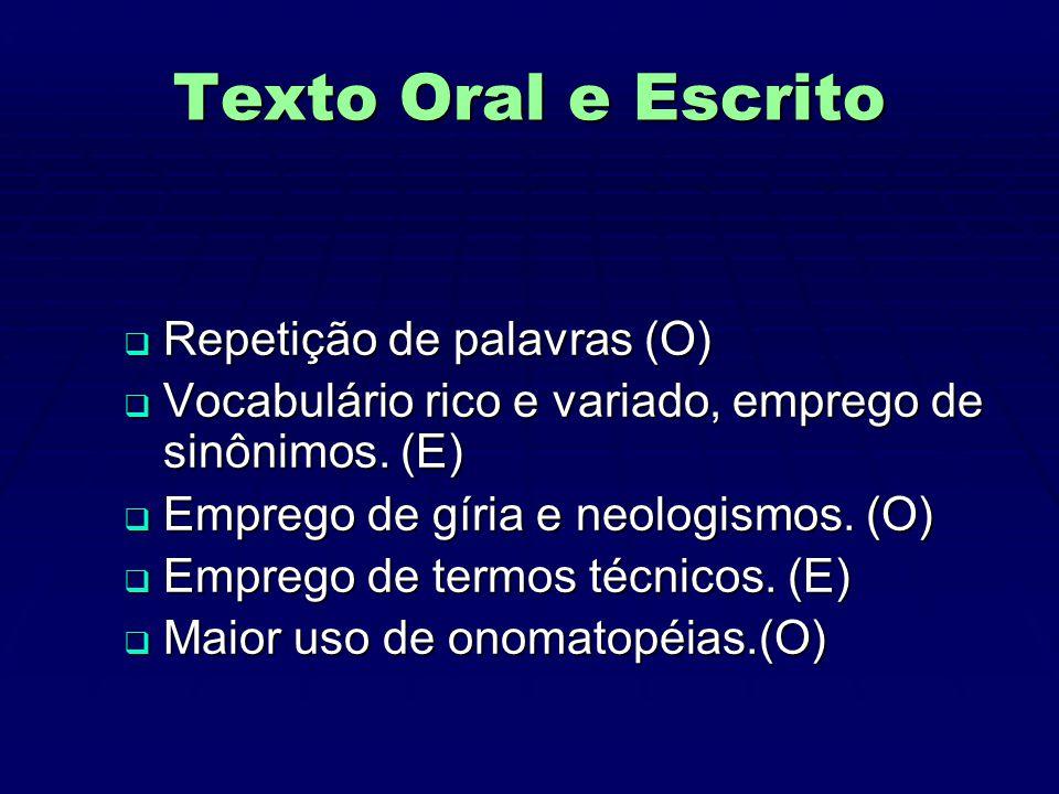 Texto Oral e Escrito Repetição de palavras (O)