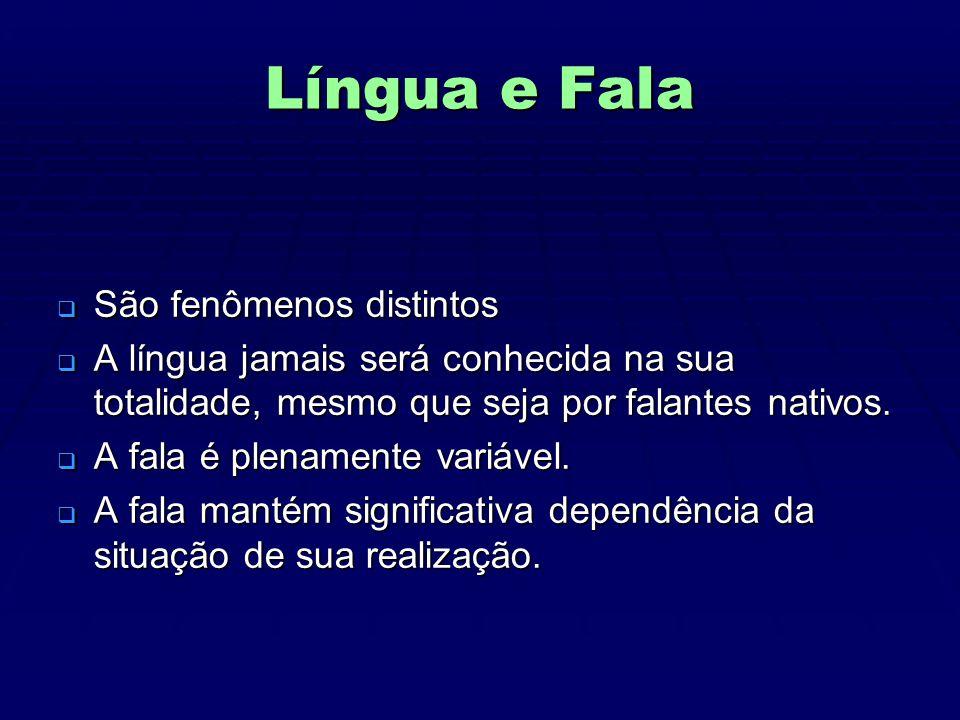 Língua e Fala São fenômenos distintos