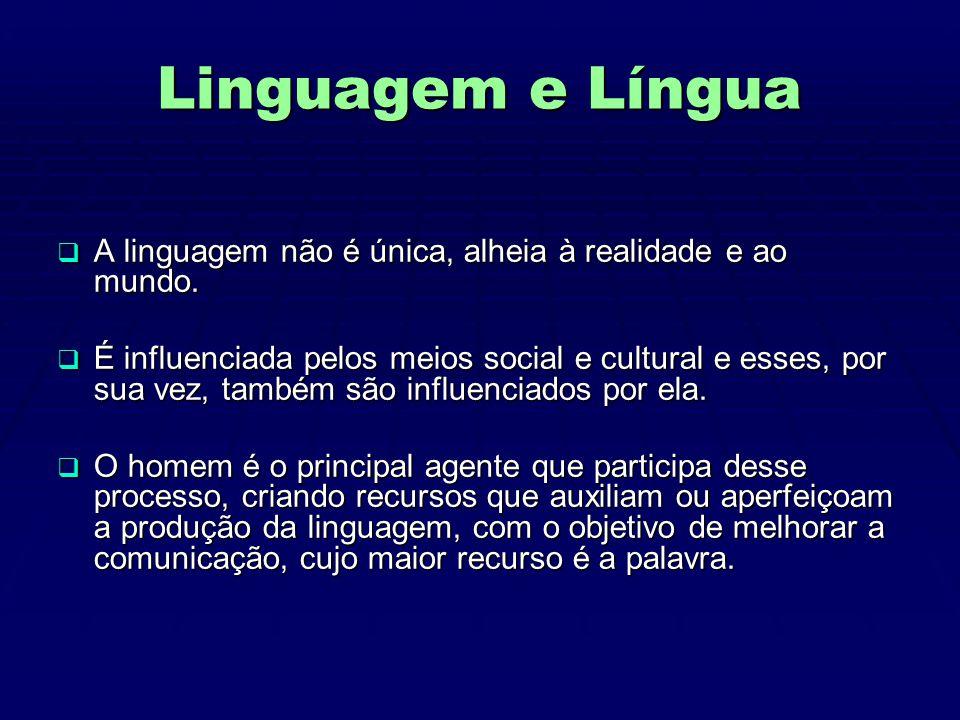 Linguagem e Língua A linguagem não é única, alheia à realidade e ao mundo.