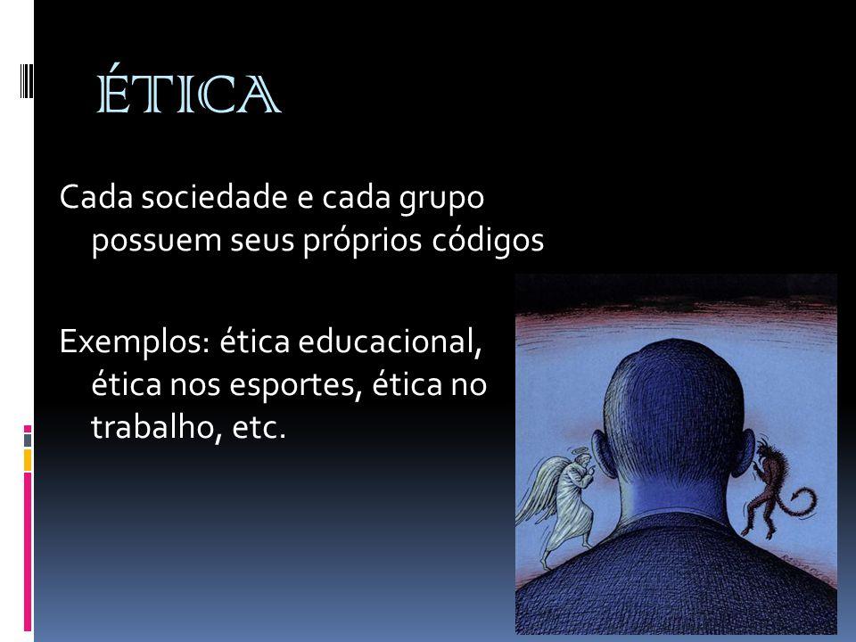 ÉTICA Cada sociedade e cada grupo possuem seus próprios códigos