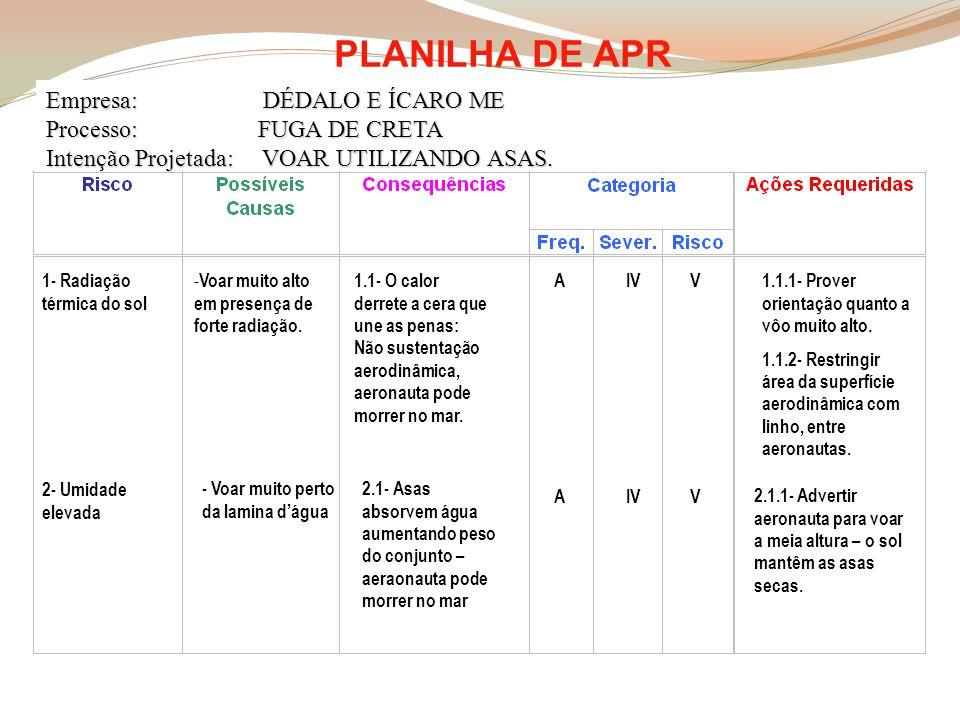 PLANILHA DE APR Empresa: DÉDALO E ÍCARO ME Processo: FUGA DE CRETA