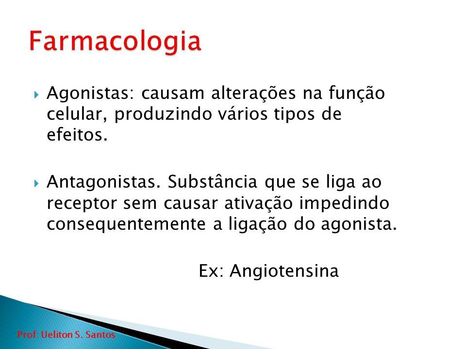 Farmacologia Agonistas: causam alterações na função celular, produzindo vários tipos de efeitos.