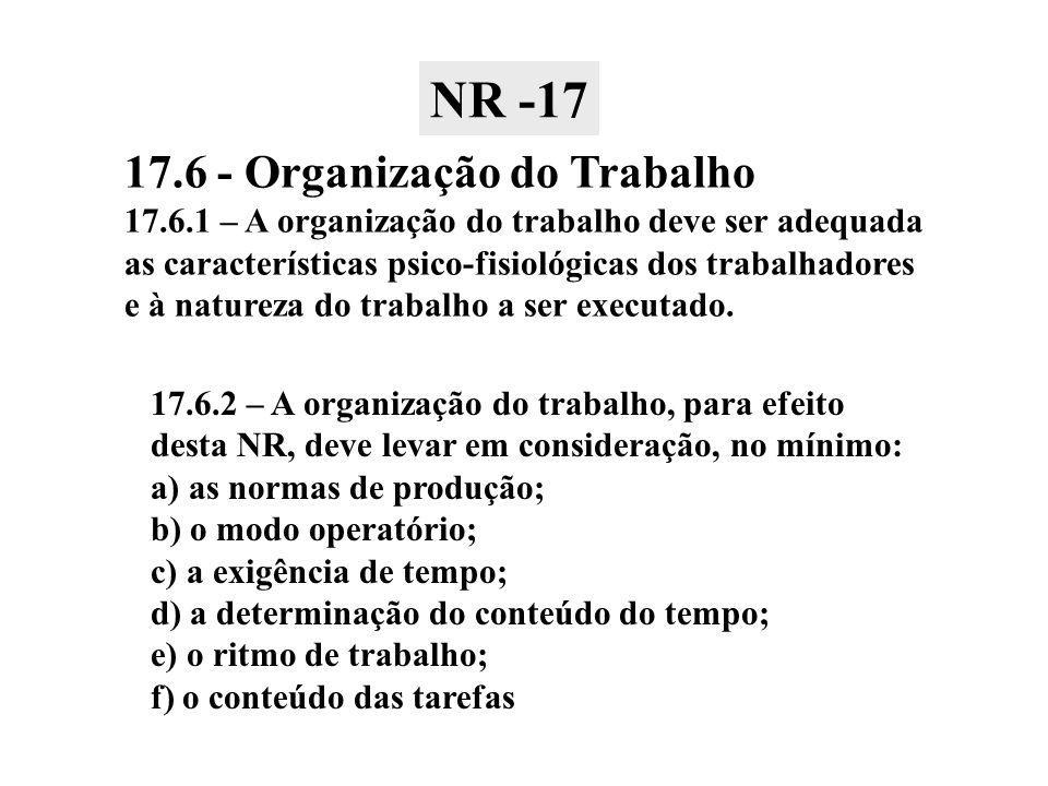 NR -17 17.6 - Organização do Trabalho
