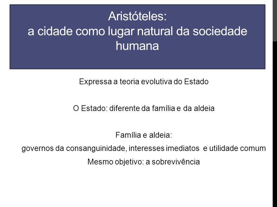 Aristóteles: a cidade como lugar natural da sociedade humana