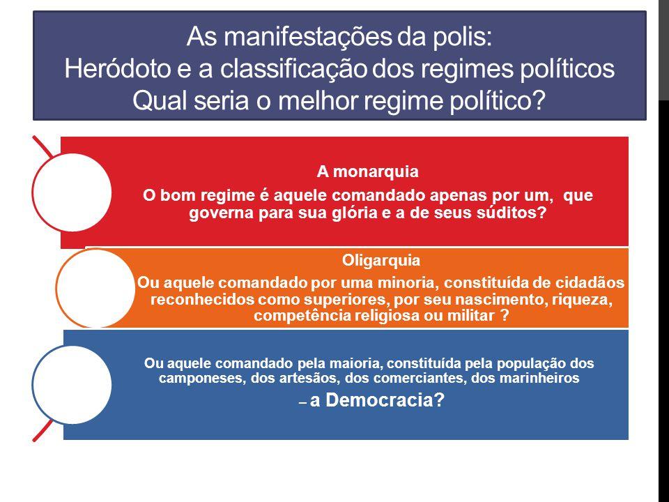 As manifestações da polis: Heródoto e a classificação dos regimes políticos Qual seria o melhor regime político