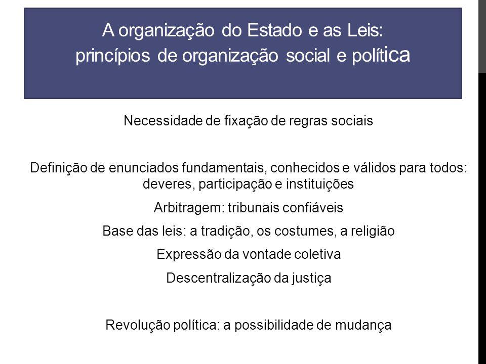 A organização do Estado e as Leis: princípios de organização social e política