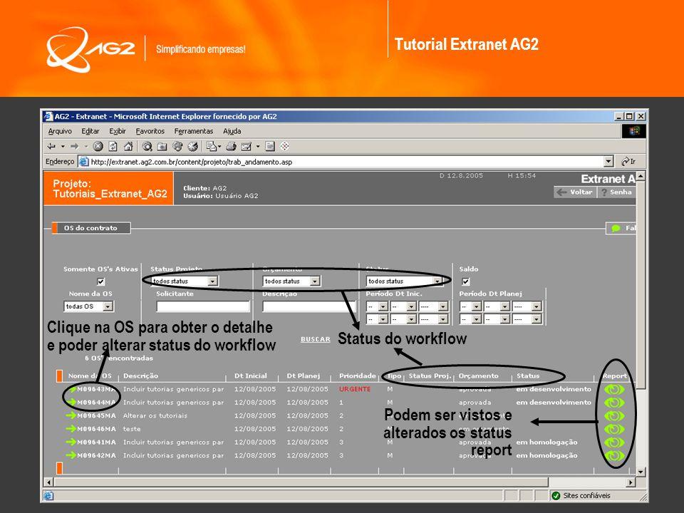 Tutorial Extranet AG2 Clique na OS para obter o detalhe e poder alterar status do workflow. Status do workflow.