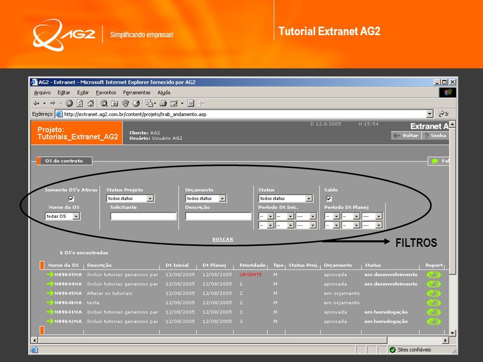 Tutorial Extranet AG2 FILTROS