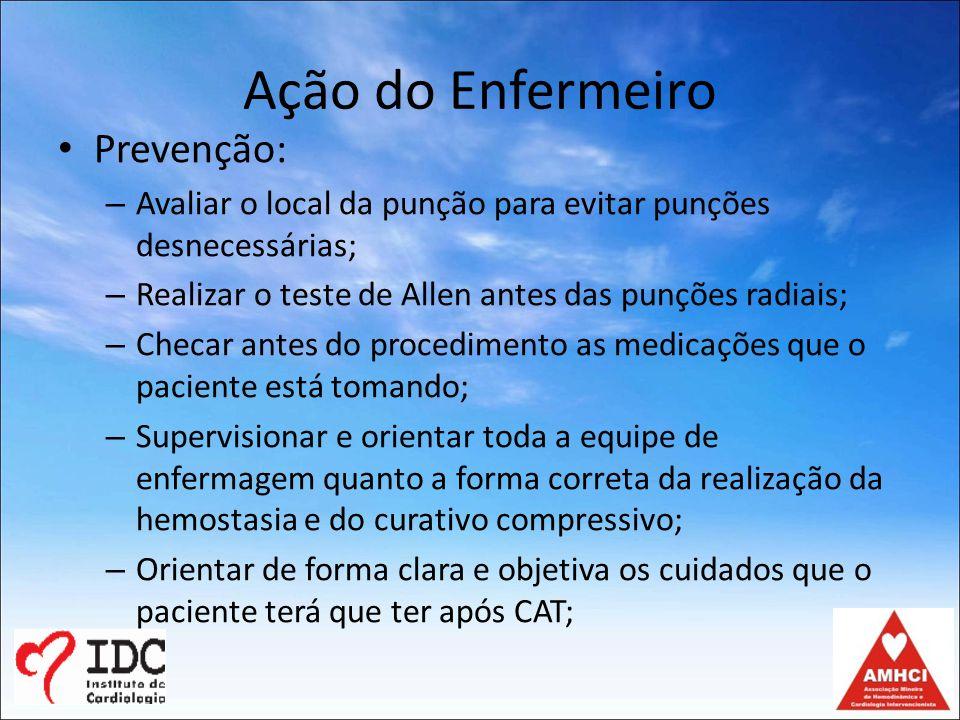 Ação do Enfermeiro Prevenção:
