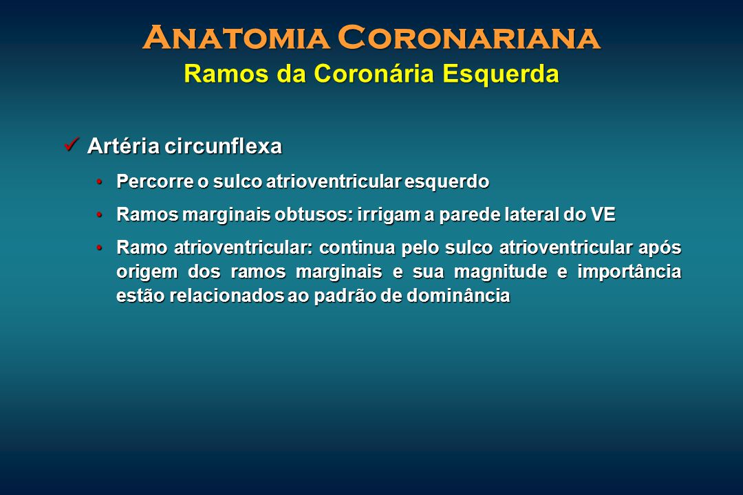 Anatomia Coronariana Ramos da Coronária Esquerda