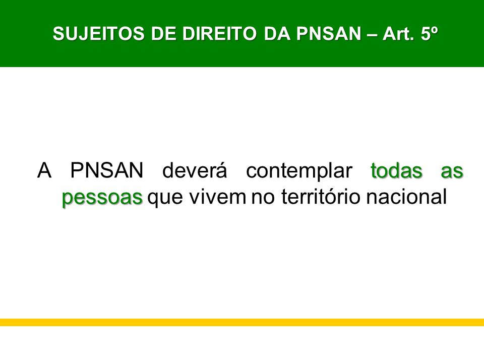 SUJEITOS DE DIREITO DA PNSAN – Art. 5º