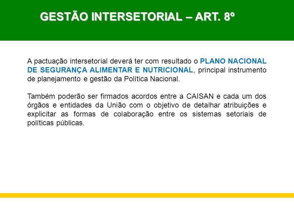 GESTÃO INTERSETORIAL – ART. 8º