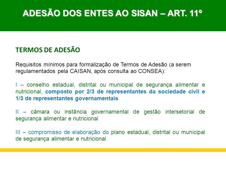 ADESÃO DOS ENTES AO SISAN – ART. 11º