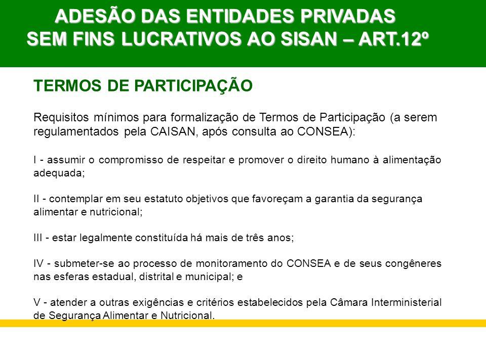 ADESÃO DAS ENTIDADES PRIVADAS SEM FINS LUCRATIVOS AO SISAN – ART.12º