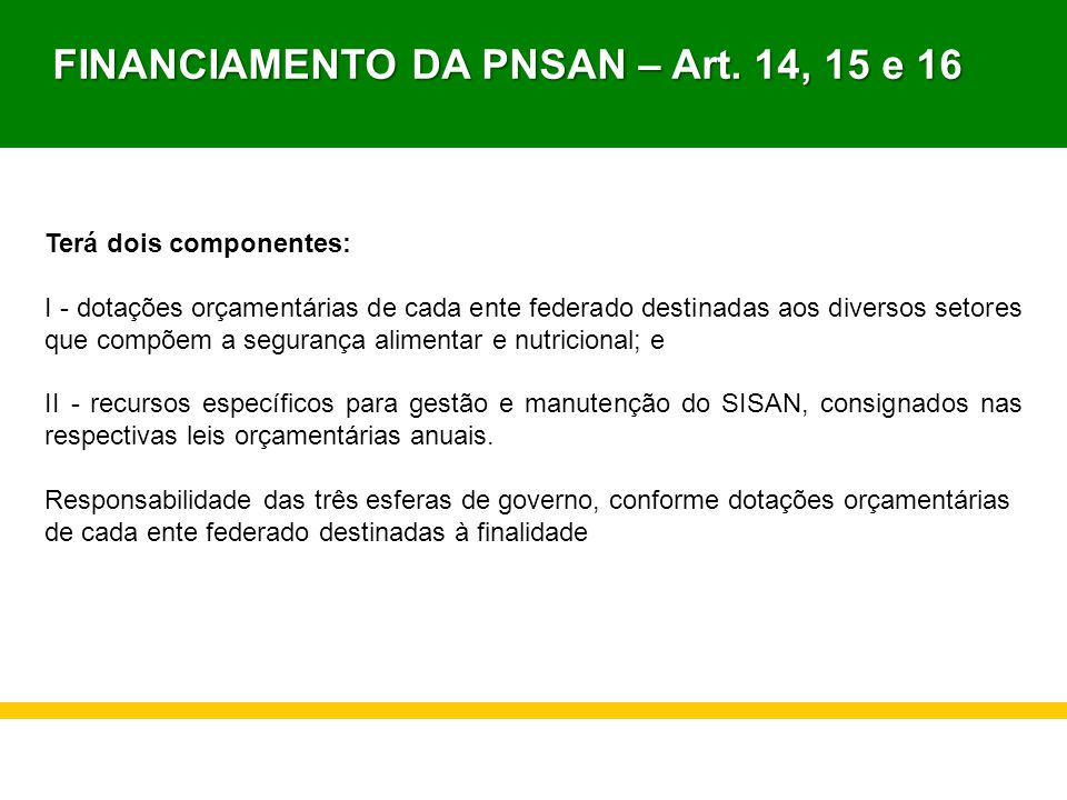 FINANCIAMENTO DA PNSAN – Art. 14, 15 e 16