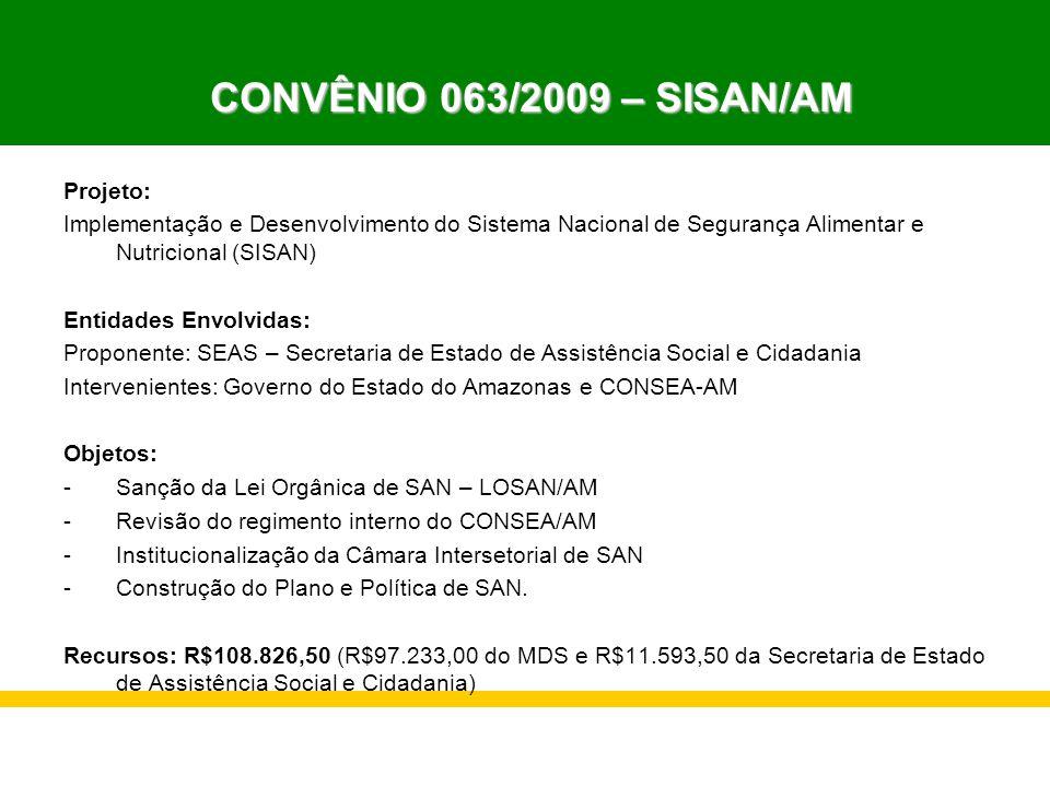CONVÊNIO 063/2009 – SISAN/AM Projeto:
