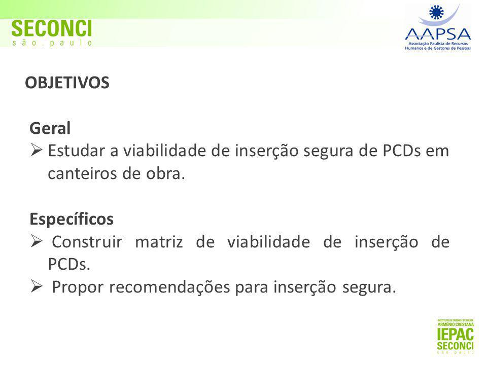 OBJETIVOS Geral. Estudar a viabilidade de inserção segura de PCDs em canteiros de obra. Específicos.