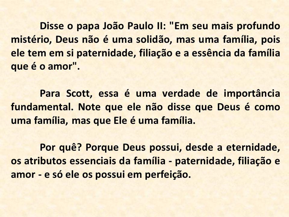 Disse o papa João Paulo II: Em seu mais profundo mistério, Deus não é uma solidão, mas uma família, pois ele tem em si paternidade, filiação e a essência da família que é o amor .