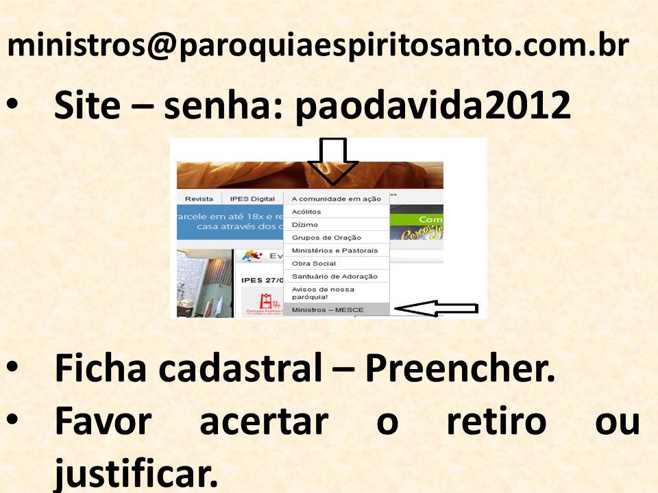 Site – senha: paodavida2012