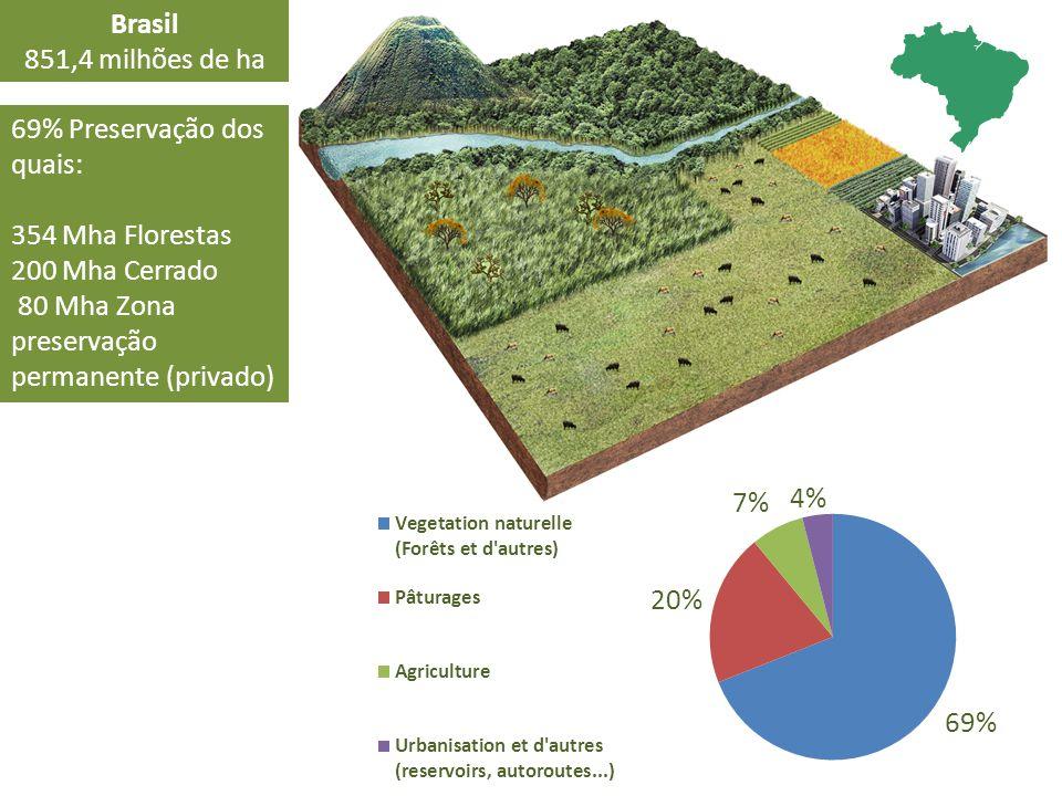 Brasil 851,4 milhões de ha. 69% Preservação dos quais: 354 Mha Florestas.