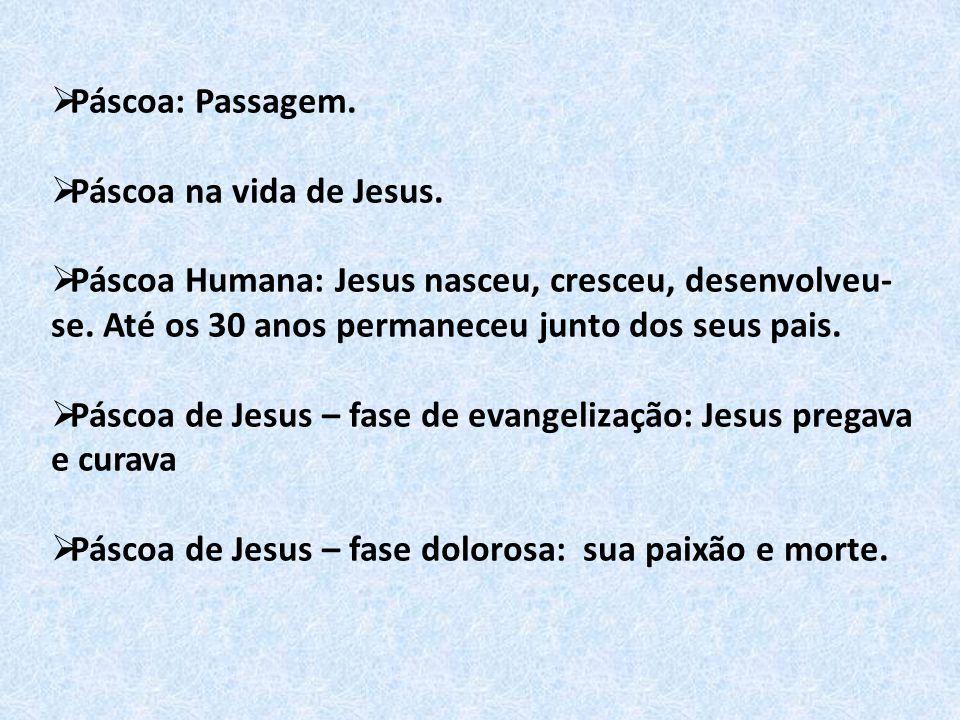 Páscoa: Passagem. Páscoa na vida de Jesus. Páscoa Humana: Jesus nasceu, cresceu, desenvolveu-se. Até os 30 anos permaneceu junto dos seus pais.