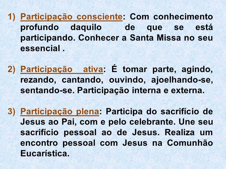 Participação consciente: Com conhecimento profundo daquilo de que se está participando. Conhecer a Santa Missa no seu essencial .