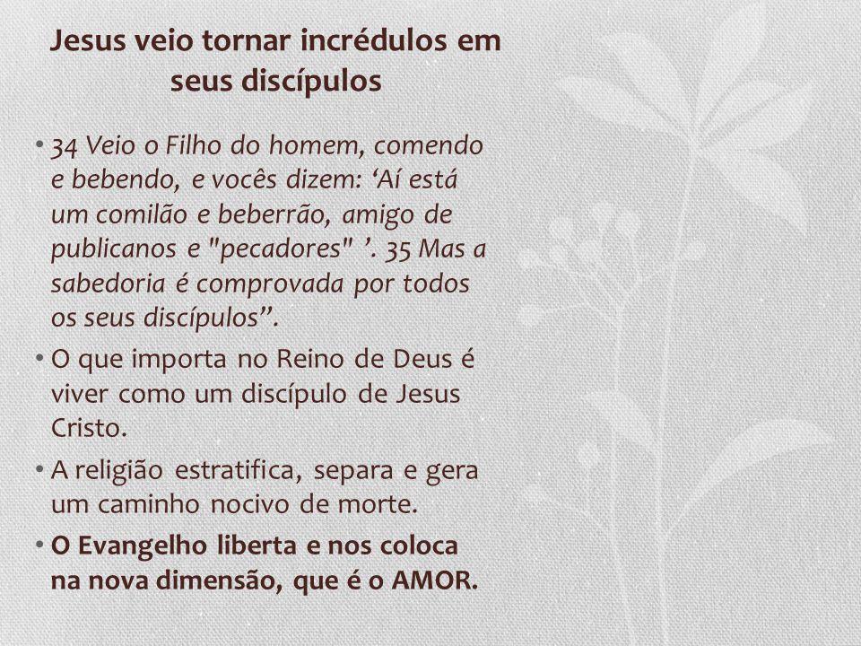 Jesus veio tornar incrédulos em seus discípulos
