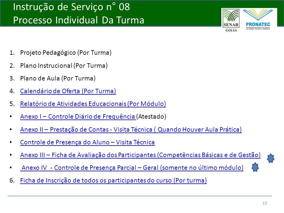 Instrução de Serviço n° 08 Processo Individual Da Turma