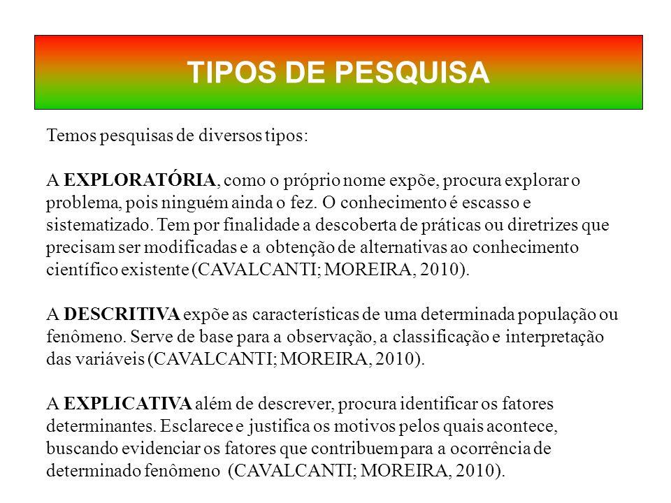 TIPOS DE PESQUISA Temos pesquisas de diversos tipos: