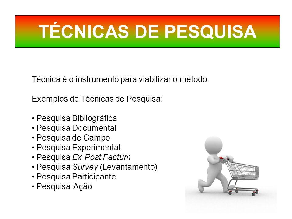 TÉCNICAS DE PESQUISA Técnica é o instrumento para viabilizar o método.