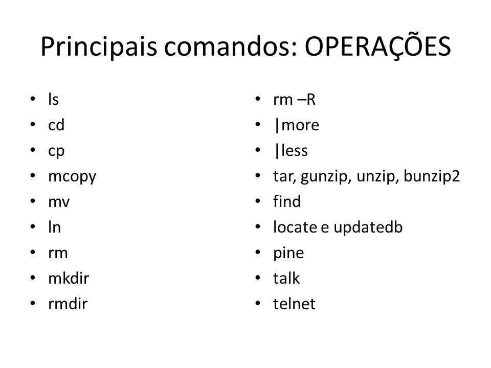 Principais comandos: OPERAÇÕES
