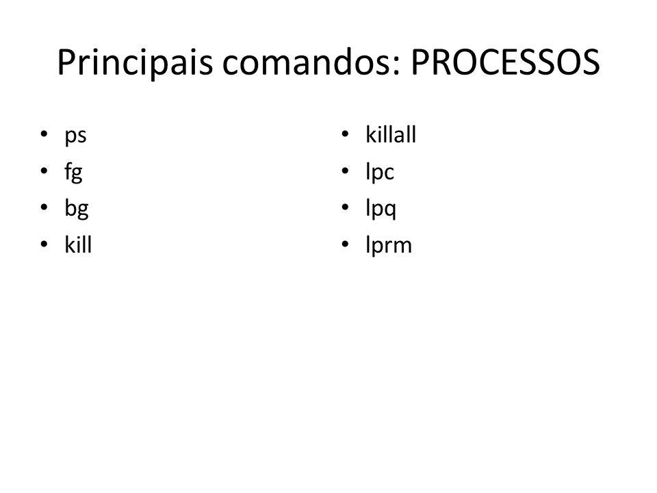 Principais comandos: PROCESSOS