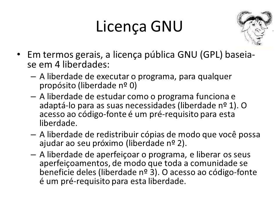 Licença GNU Em termos gerais, a licença pública GNU (GPL) baseia-se em 4 liberdades:
