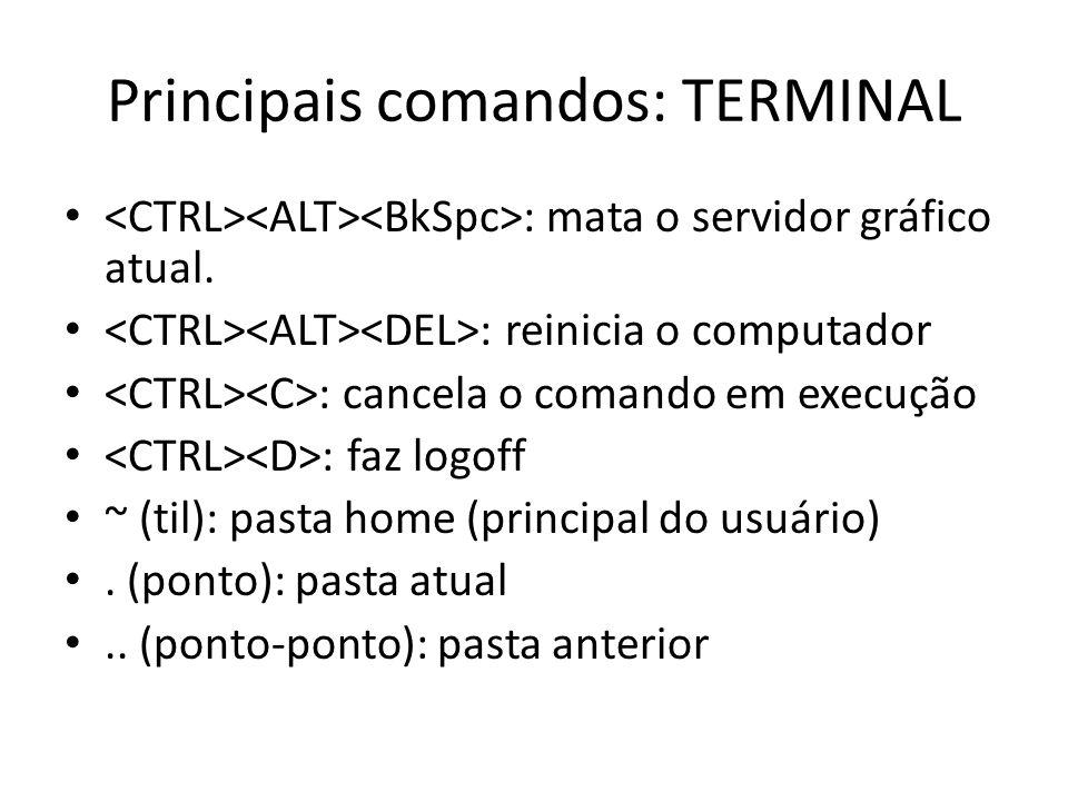 Principais comandos: TERMINAL