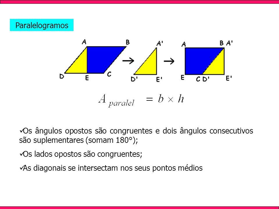 Paralelogramos Os ângulos opostos são congruentes e dois ângulos consecutivos são suplementares (somam 180°);