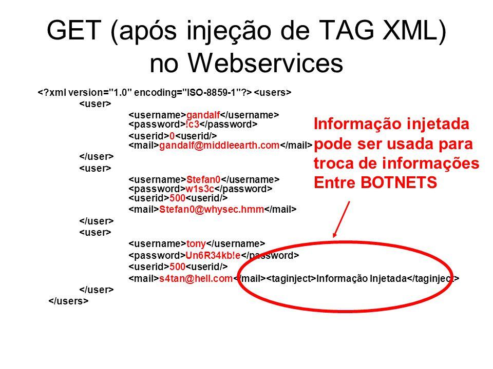 GET (após injeção de TAG XML) no Webservices