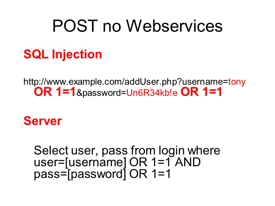POST no Webservices SQL Injection Server