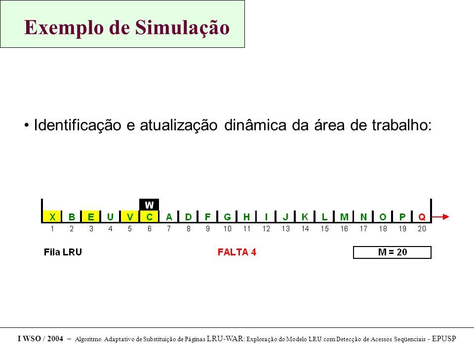 Exemplo de Simulação Identificação e atualização dinâmica da área de trabalho: