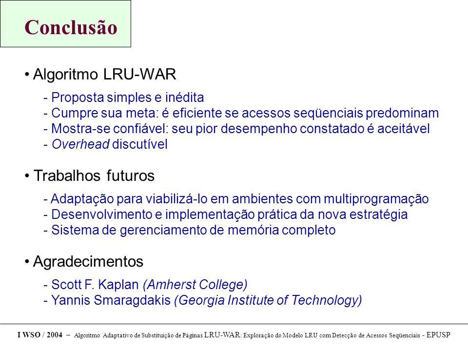 Conclusão Algoritmo LRU-WAR Trabalhos futuros Agradecimentos