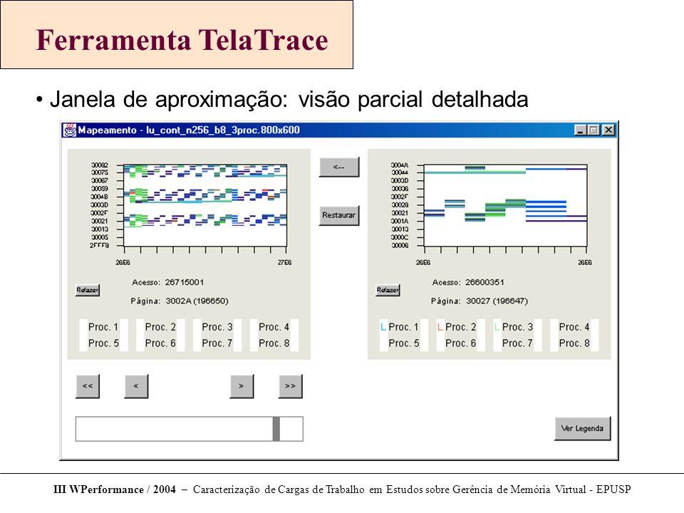 Ferramenta TelaTrace Janela de aproximação: visão parcial detalhada