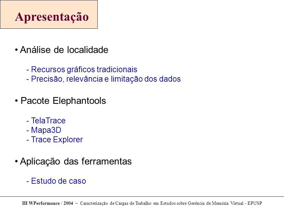 Apresentação Análise de localidade Pacote Elephantools
