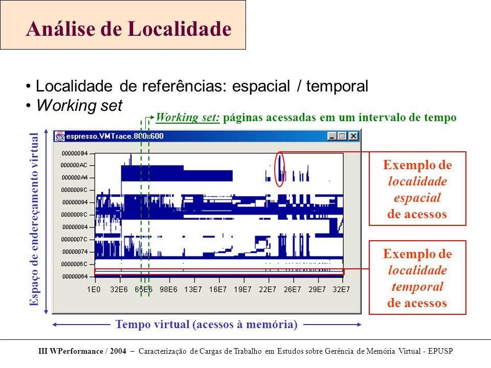 Análise de Localidade Localidade de referências: espacial / temporal