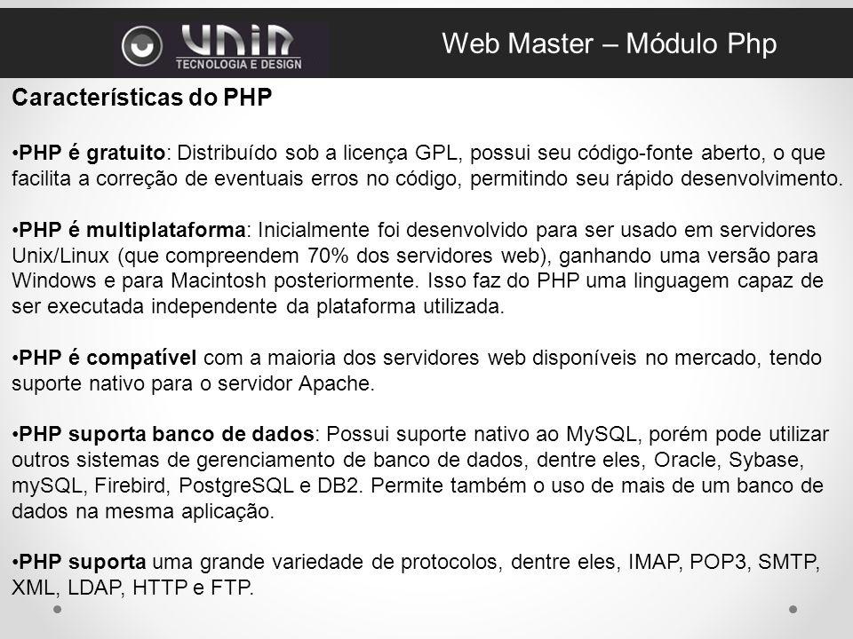 Web Master – Módulo Php Características do PHP
