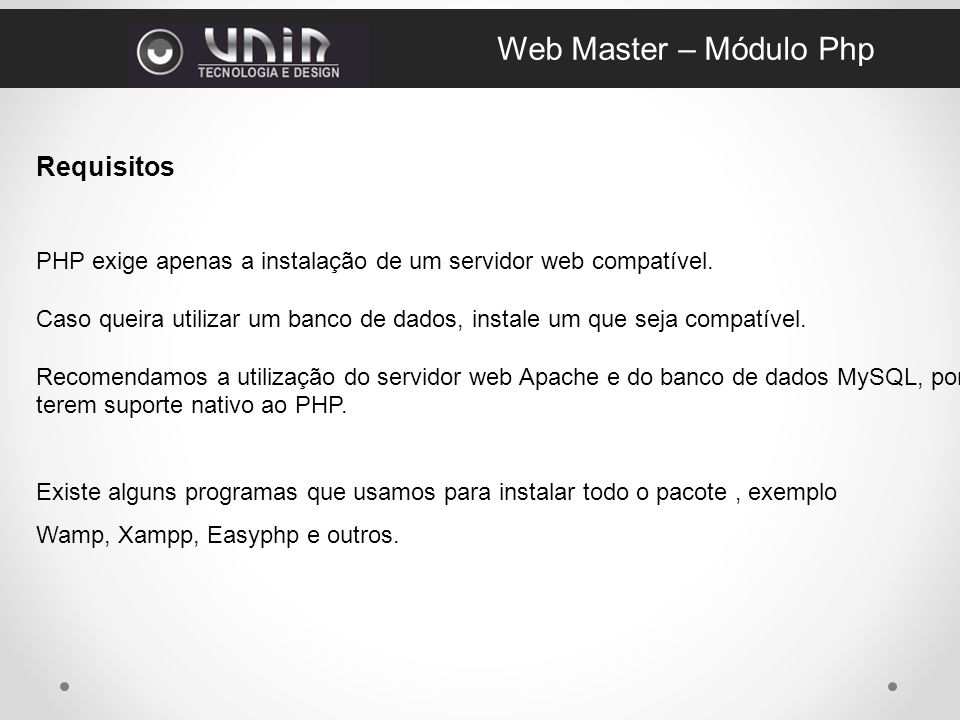 Web Master – Módulo Php Requisitos